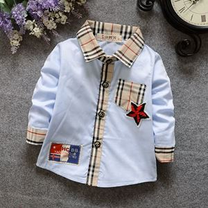 Picture of Fashion Plaid Collar Long Sleeve Boy Shirt