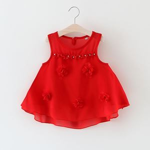 Picture of Fashionable Sleeveless Flower Blouse for Girl