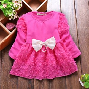 Picture of Flower Long Sleeved Dress with Bowknot for Girls
