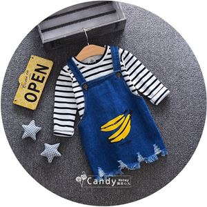 Picture of Banana Pattern Overall Skirt Striped Shirt Two-Piece Set
