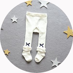 Picture of Adorable Infant Baby Girl Ribbon Legging Sock