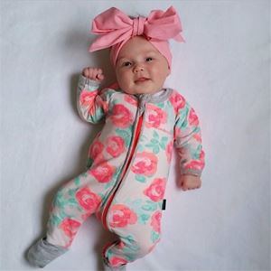 Picture of Adorable Pink Rose Patterned Zip Jump Suit