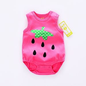 Picture of Adorable Sleeveless Strawberry Baby Romper