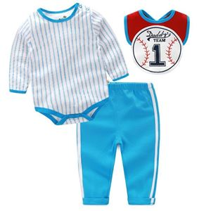 Picture of Stylish Baseball with Stripe Baby Romper 3IN1