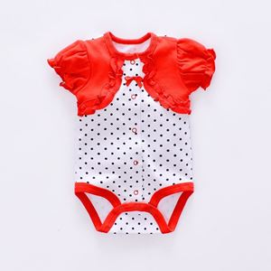 Picture of Adorable Polka Dots Short Sleeve Baby Romper