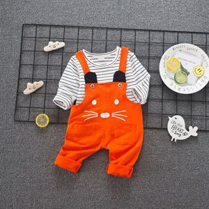 Picture of Cute Kitten Design Overall and Stripe Tee Set