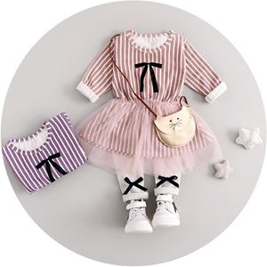 Picture of Girl Ribbon Strip Tutu Longsleeve Two-Piece Set
