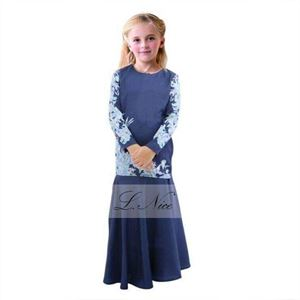 Picture of Muslimah Fashion Jubah Blue Girl Set Big Size