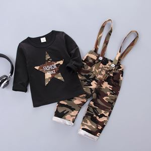 Picture of Black Long Sleeved Army Overall Longsleeve Boy Set