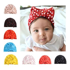 Picture of Europe United States Dot Fashion Ribbon Head Cap For Baby Girl