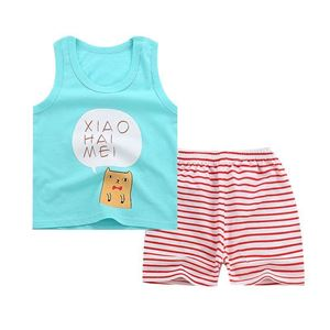 Picture of Two-Pieces Green Kitten Sleeveless Garment and Shorts Pants Unisex Clothing Set