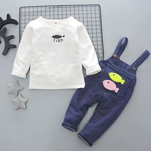 Picture of Fish Boy Longsleeve Shirt Overall Suit Two-Piece Set