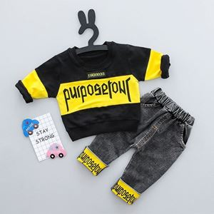 Picture of Fashion Letters Print Longsleeve Tee and Pants Set for Boy