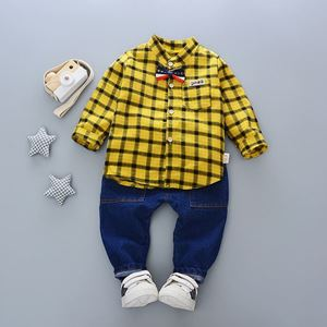 Picture of Plaid Boy Longsleeve Shirt and Pant Two-Piece Set