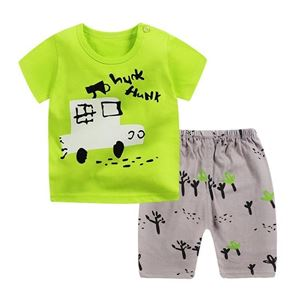 Picture of Two-Piece Green Car Printed Short Sleeve Casual Wear Clothing Set