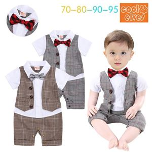 Picture of Gentleman Stylish Brown Grid Bow Baby Boy Suit Romper Jumpsuit Clothes