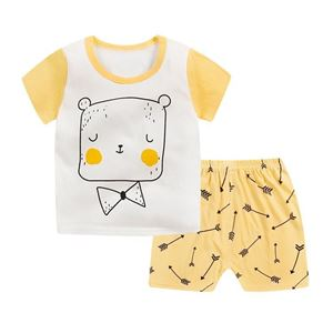Picture of Bear Printed Short Sleeve Casual Wear Two-Piece Clothing Set